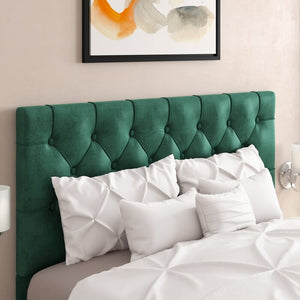 Heng Button Tufted Upholstered Panel Headboard, Green - King (#862)
