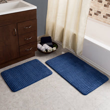 Load image into Gallery viewer, Navy Hitesh Rectangle Memory Foam Non-Slip 2 piece Bath Rug Set TRUG1032