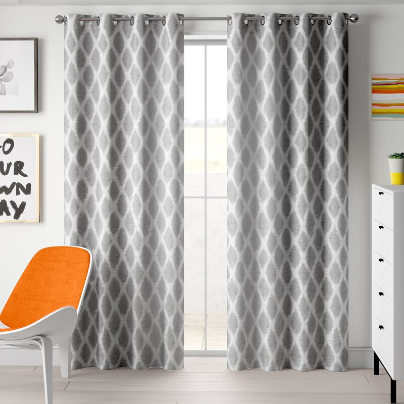 Set of 2 - Hutton Printed Ikat Blackout Curtains, Gray - 50