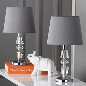 "SET OF 2 - Jo Tiered 15"" Table Lamp, Grey Shade (#424)"