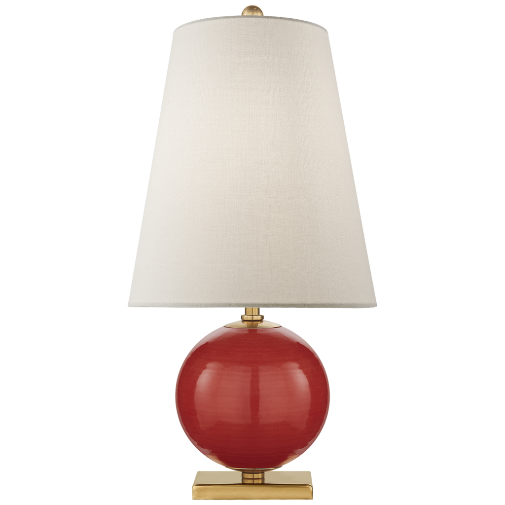Kate Spade Corbin Mini Accent Lamp in Maraschino with Cream Linen Shade 1057