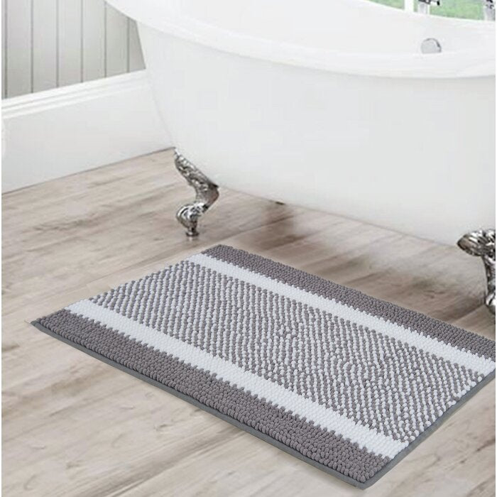 Kailyn Striped Chenille Bath Rug, Grey - 17