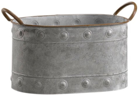 Klinger Oval Tin Metal Pot Planter with Handle (#245)