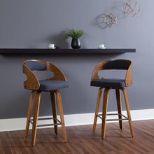 "Load image into Gallery viewer, Mid Century Navy Modern Bentwood Frame 26"" Swivel Bar Stool #LX8918"