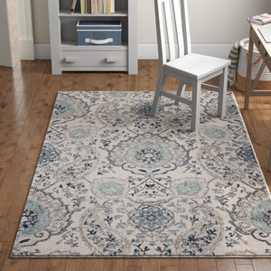 Katie Damask Cream/Light Gray Area Rug KRUG033