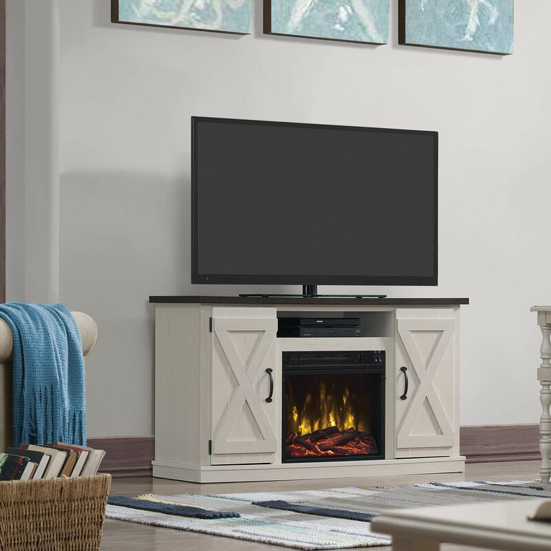 Lorraine TV Stand with Electric Fireplace, Ivory/Pine (#866)