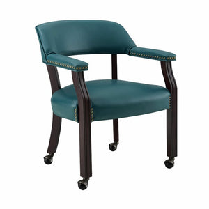 Mcbride Upholstered Solid Wood Arm Chair, Teal (#632)