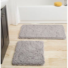 Load image into Gallery viewer, Memory Foam Shag 2 Piece Bath Rug Set - Gray (#190)