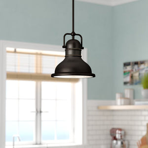 "Merrick 1-Light Dome Pendant, Bronze - 41.31"" H x 8.75"" W x 8.75"" (#K6490)"
