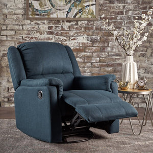 Neoma Manual Swivel Glider Rocker Recliner, Navy Blue (#743)