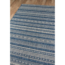 "Load image into Gallery viewer, Tuscany  Striped Denim Indoor/Outdoor 9'3"" x 12'6"" Area Rug ERUG262"