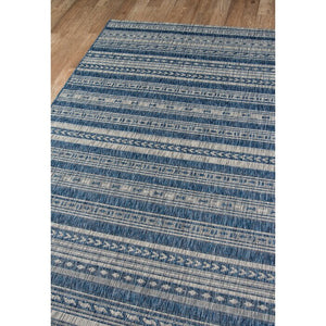 "Tuscany  Striped Denim Indoor/Outdoor 9'3"" x 12'6"" Area Rug ERUG262"