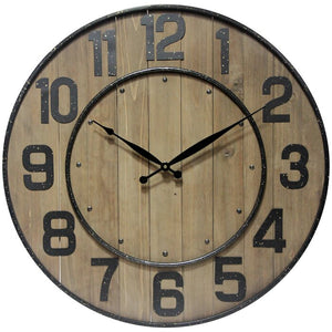 "Oversized Northrop Wine Barrel 24"" Wall Clock, Brown/Black (#911)"