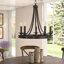 Load image into Gallery viewer, Pavon 5-Light Candle Style Wagon Wheel Chandelier (#K2096)