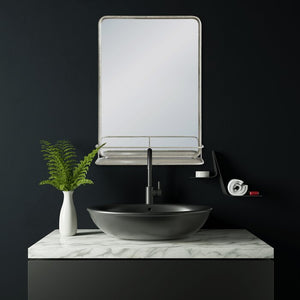 Peetz Accent Mirror with Shelves, Nickel (#279)