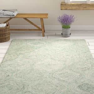 Pershing Hand-Tufted Wool Green Area Rug KRUG037