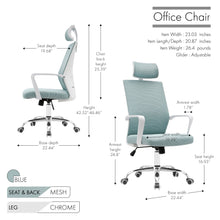 Load image into Gallery viewer, Porthos Home Heath Swivel Office Chair, Mesh Back With Head Support TTR528