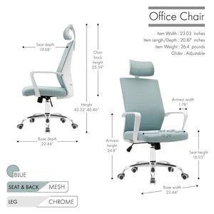 Porthos Home Heath Swivel Office Chair, Mesh Back With Head Support TTR528