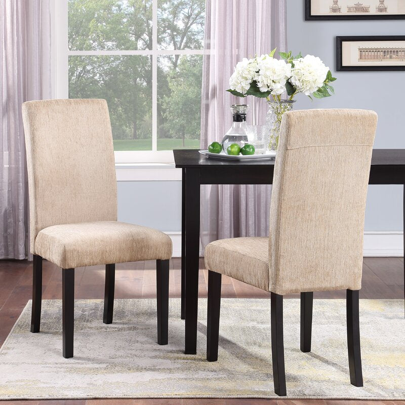 Set of 2 - Prospe Linen Upholstered Dining Chairs, Beige (#K2080)