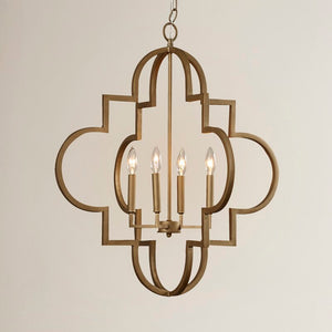 "Reidar 4-Light Lantern Geometric Chandelier, Brushed Gold - 28.25"" (#159)"