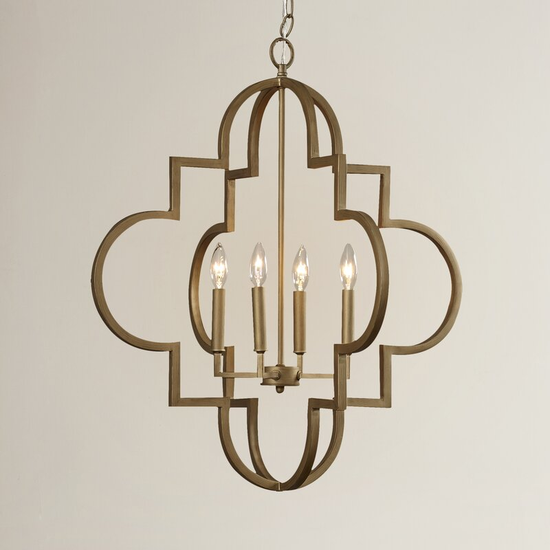 Reidar 4-Light Lantern Geometric Chandelier, Brushed Gold - 28.25