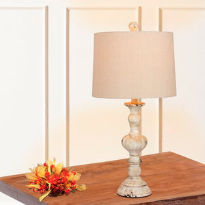 "Set of 2 - Roxann Rustic Sculpted Candlestick 27"" Table Lamp Set, White/Oatmeal (#K6299)"