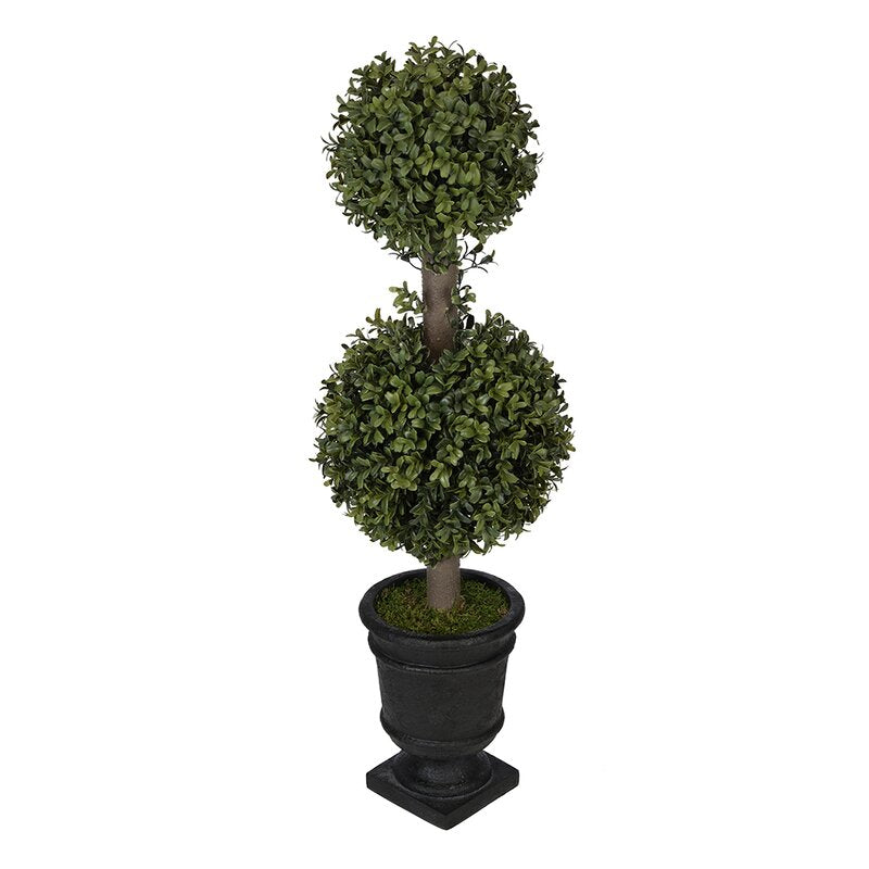 Artificial Boxwood Double Ball Topiary in Urn (Set of 2)  #SA638