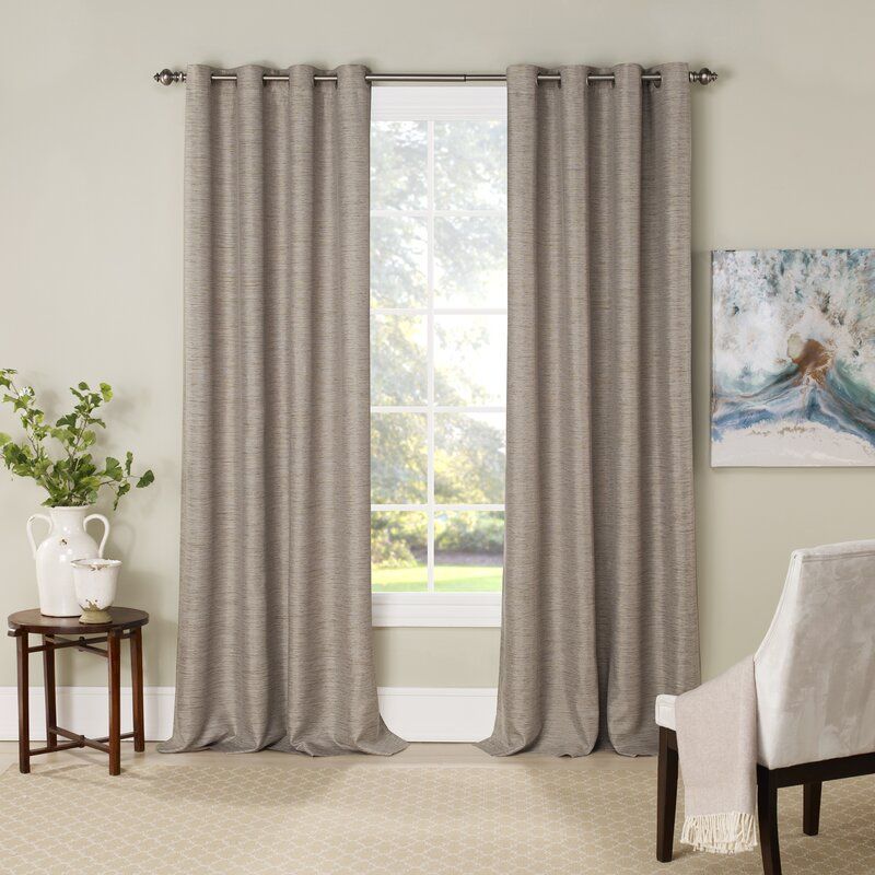 Mattie Solid Blackout Thermal Grommet Curtain Panels (Set of 2)  #SA668