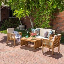 Load image into Gallery viewer, Carolina Brown 4-Piece Wood Patio Set with Beige Cushions  #SA689