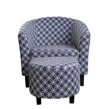 "Load image into Gallery viewer, Blue Poitras 21"" Barrel Chair and Ottoman  #SA719"