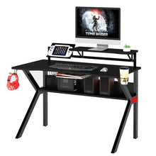 Load image into Gallery viewer, Black PVC Coated Ergonomic Metal Frame Gaming Desk  #SA732