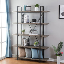 Load image into Gallery viewer, Nordheim 5-Shelf Industrial and Rustic Etagere Bookcase  #SA828