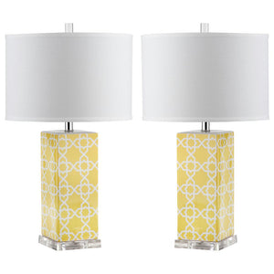 "Quatrefoil 27"" Yellow Table Lamps with White Shades (Set of 2)  #SA894"