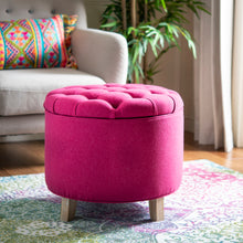 Load image into Gallery viewer, Amelia Tufted Storage Ottoman, Berry (#K2554)