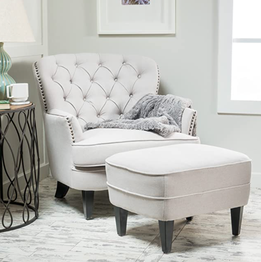 Tafton tufted club chair with ottoman Dr130