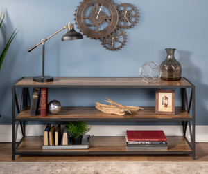 X-Frame Metal and Wood Media Bookshelf, Rustic Oak Dr176