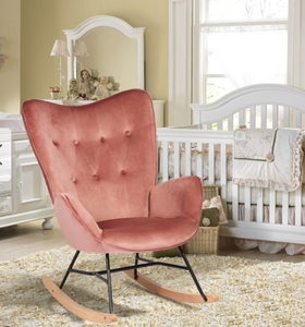 Velvet pink rocking chair Dr236