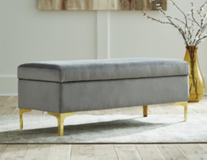 Bachwich Upholstered Bench, Gray Velvet (#53)