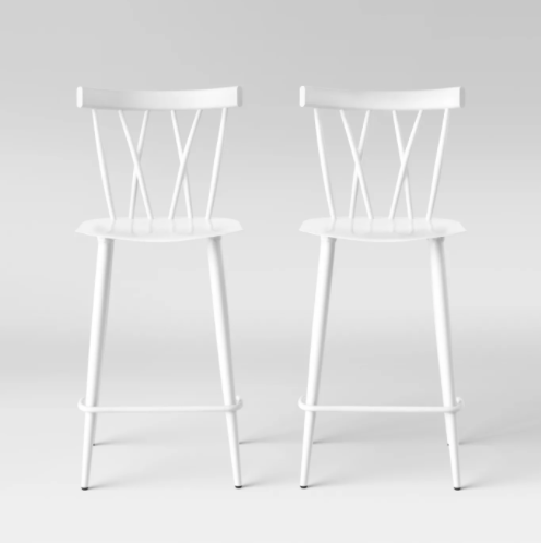 Set of 2 - Becket Metal X Back Counter Stool, White (#203)