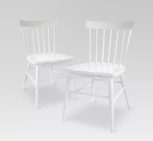 Set of 2 - Windsor Dining Chairs, White (#217)