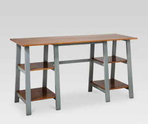 Double Trestle Desk, Midtone/Grey (#300)