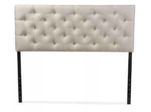 Viviana Faux Leather Upholstered Headboard, Light Beige - Queen (#350)