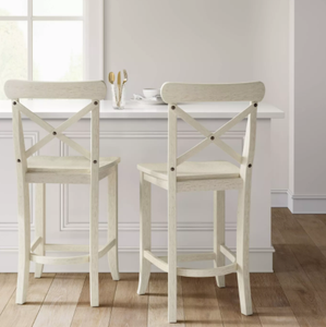 "SET OF FOUR - Litchfield 24"" X-Back Counter Stool, White (#311 - 4 BOXES)"