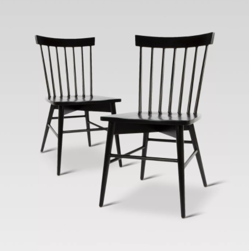 Set of 2 - Windsor Dining Chairs, Black (#K2126)
