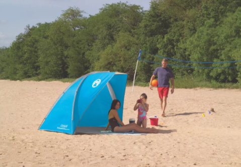 Coleman Beach Shade with 50+ SPF Sun Protection Tent, Blue (#K2310)