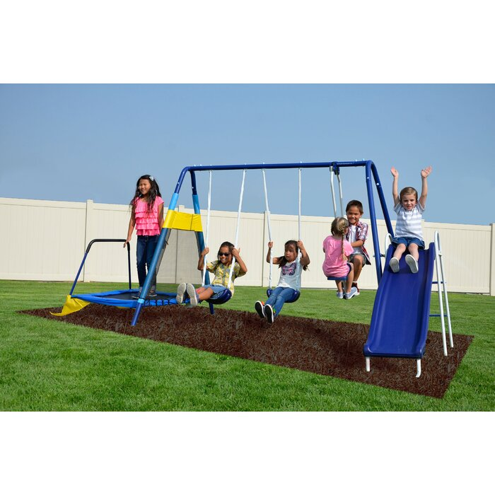 Almansor Trampoline/Slide and Swing Set #HA657