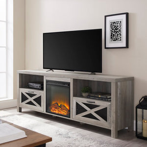 "Tansey TV Stand for TVs up to 78"" with Electric Fireplace, Gray Wash (#K2391)"