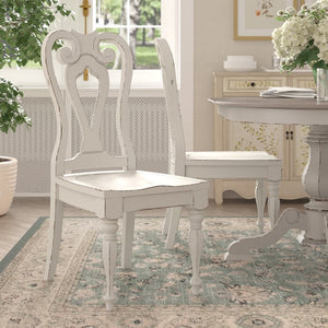Set of 2 - Tiphaine Solid Wood Queen Anne Back Side Chair, True Stark White (#K2431)
