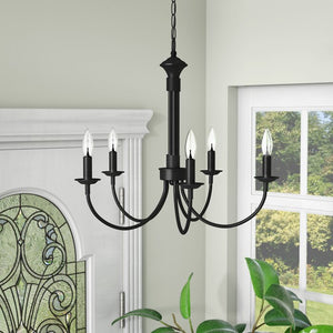 Shaylee 5 Light Candle Style Chandelier, Black (#558)