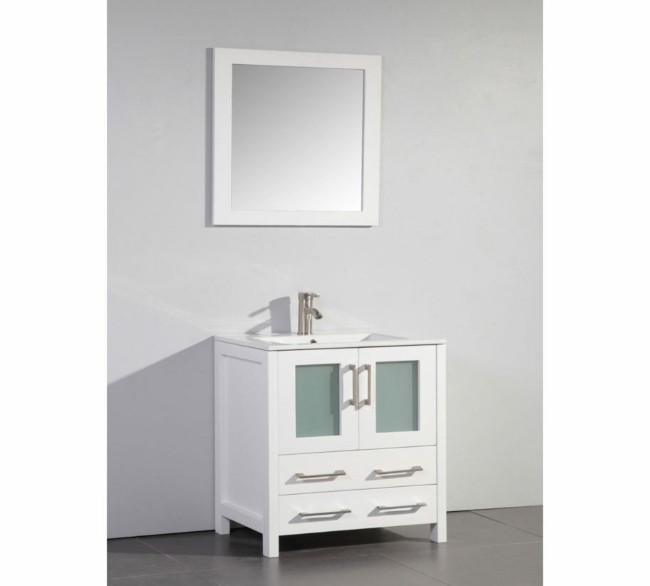 VANITY ART VA3030W 30 INCH VANITY CABINET WITH CERAMIC INTEGRATED SINK & MIRROR - WHITE CL419